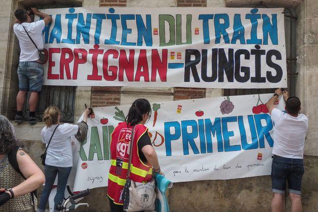 Le maintien de la ligne Perpignan-Rungis fait régulièrement l'objet de manifestation comme...