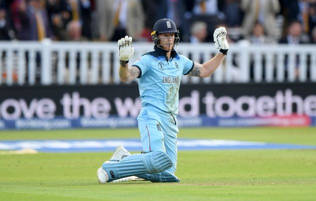 England batsman Ben Stokes after a throw had deflected off him and gone to the