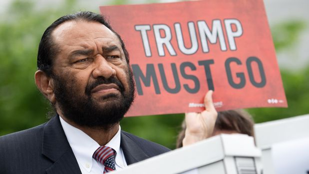 US Representative Al Green, Democrat of Texas,  speaks during a press conference after receiving a computer flash drive from activist at the US Capitol in Washington, DC, May 9, 2019. - The drive contains 10 million signatures on a petition urging the US Congress to begin impeachment proceedings against US President Donald Trump. (Photo by SAUL LOEB / AFP)        (Photo credit should read SAUL LOEB/AFP/Getty Images)