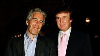 Portrait of American financier Jeffrey Epstein (left) and real estate developer Donald Trump as they pose together at the Mar-a-Lago estate, Palm Beach, Florida, 1997. (Photo by Davidoff Studios/Getty Images)
