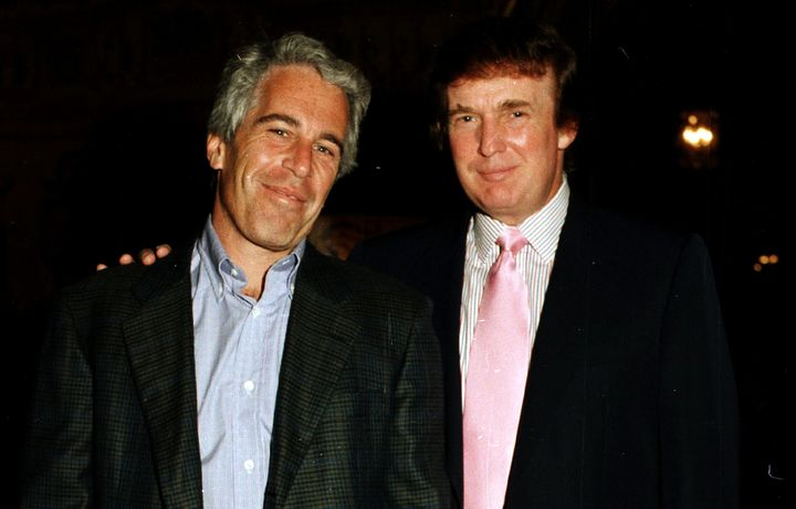 Jeffrey Epstein poses with Donald Trump at the Mar-a-Lago estate in Palm Beach, Florida, in 1997. Trump recently said he wasn