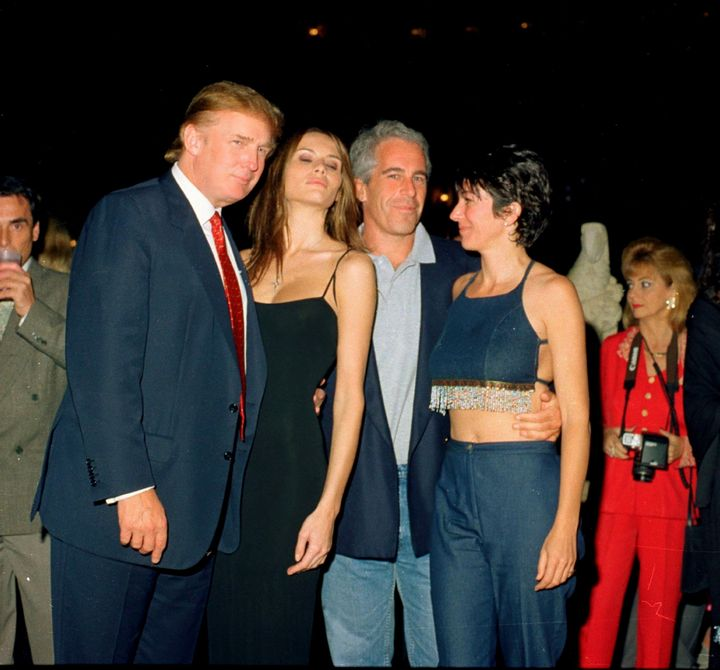 Donald Trump and his then-girlfriend, Melania Knauss, poses with Jeffrey Epstein and British socialite Ghislaine Maxwell at t