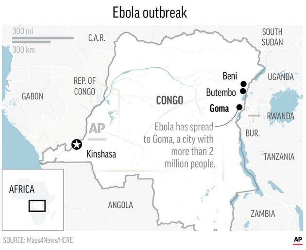 The outbreak has spread to the city of Goma, home to more than two million