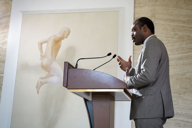 Congo's Health Minister Oly Ilunga speaks following a meeting held by the United Nations on the Ebola...