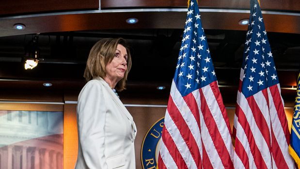Speaker of the House Nancy Pelosi, D-Calif., arrives for a news conference on Capitol Hill in Washington, Wednesday, July 17, 2019.  (AP Photo/J. Scott Applewhite)