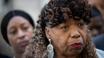 NEW YORK, NY - JULY 16: Gwen Carr, mother of the late Eric Garner, looks on during a press conference outside the U.S. Attorney's office following a meeting with federal prosecutors, July 16, 2019 in the Brooklyn borough of New York City. The U.S. Justice Department announced they will not bring federal charges against NYPD officer Daniel Pantaleo in the death of Eric Garner. Pantaleo put Eric Garner in a chokehold for 15 seconds while arresting him on suspicion of selling single cigarettes from packs without tax stamps. Wednesday is the 5th anniversary of the death of Garner. (Photo by Drew Angerer/Getty Images)