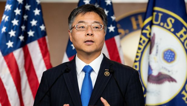 WASHINGTON, D C , UNITED STATES - 2019/06/27: U.S. Representative Ted Lieu (D-CA) speaking at a press conference to discuss the introduction of election interference legislation in Congress at the US Capitol in Washington, DC. (Photo by Michael Brochstein/SOPA Images/LightRocket via Getty Images)