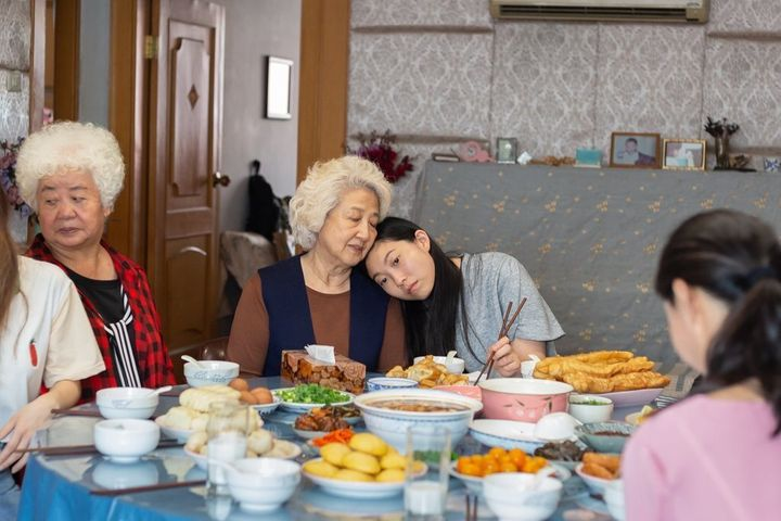 "Shuzhen Zhao and Awkwafina in ""The Farewell."""