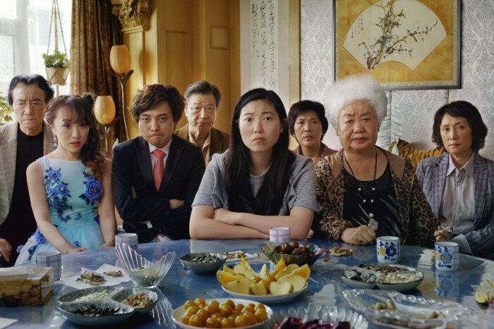 "Awkwafina and her fictional family — minus Nai Nai — in ""The Farewell."""