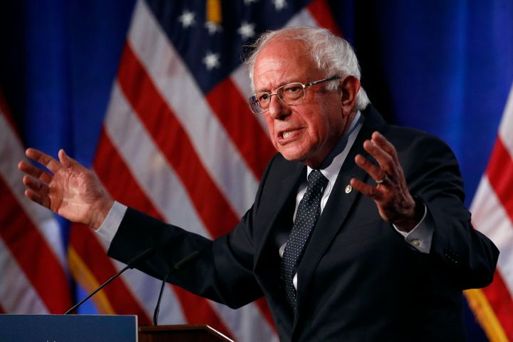 Sen. Bernie Sanders (I-Vt.), a Democratic presidential candidate, speaks about Medicare for All on Wednesday in Washington.&n