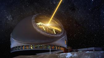 An artist concept of TMT at night, with the laser guide star system illuminated.