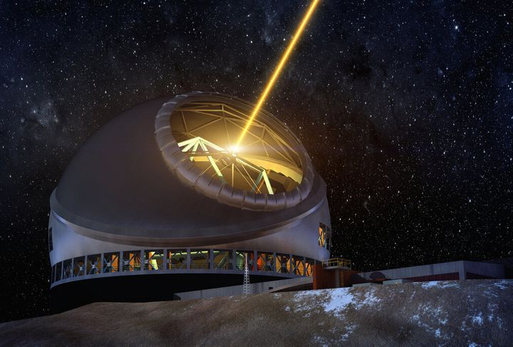 An artist concept of the Thirty Meter Telescope at night.