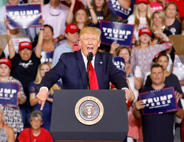 Trump at the rally in North Carolina last