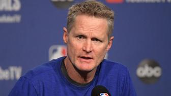 May 29, 2019; Toronto, Ontario, CAN;  Golden State Warriors head coach Steve Kerr answers questions during a news conference on Media Day for the NBA Finals at Scotiabank Arena. Mandatory Credit: Dan Hamilton-USA TODAY Sports
