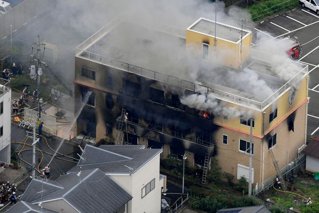 The three-storey building in Kyoto was gutted by the