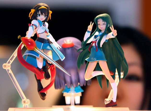 The studio is known for a host of famous characters, including Suzumiya Haruhi, left, seen here at an...