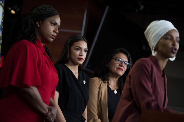 From left, Reps. Ayanna Pressley, D-Mass., Alexandria Ocasio-Cortez, D-N.Y., Rashida Tlaib, D-Mass.,...