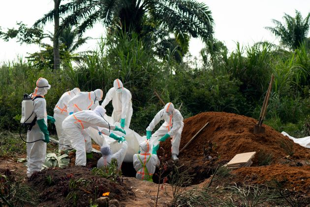 An Ebola victim is put to rest at the Muslim cemetery in Beni, Congo DRC, on July 14. More than 1,600...