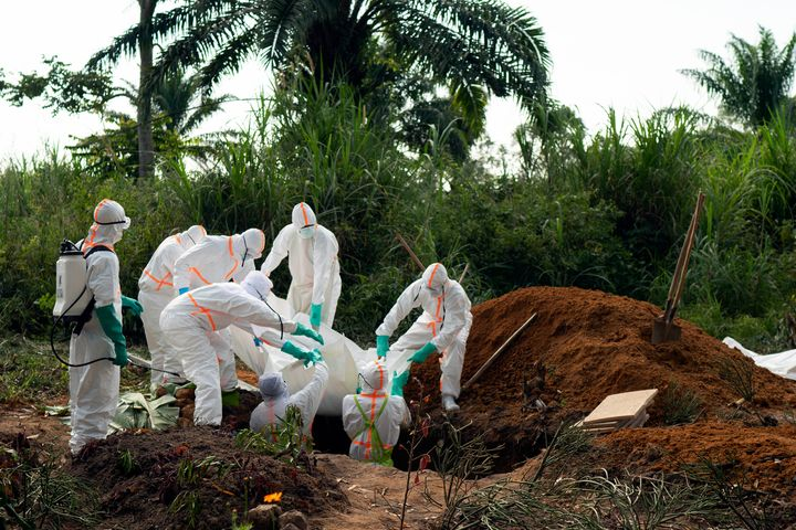 An Ebola victim is put to rest at the Muslim cemetery in Beni, Congo DRC, on July 14. More than 1,600 people in eastern Congo