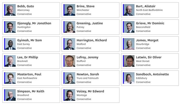 The Tory MPs who voted to try and stop Boris Johnson suspending