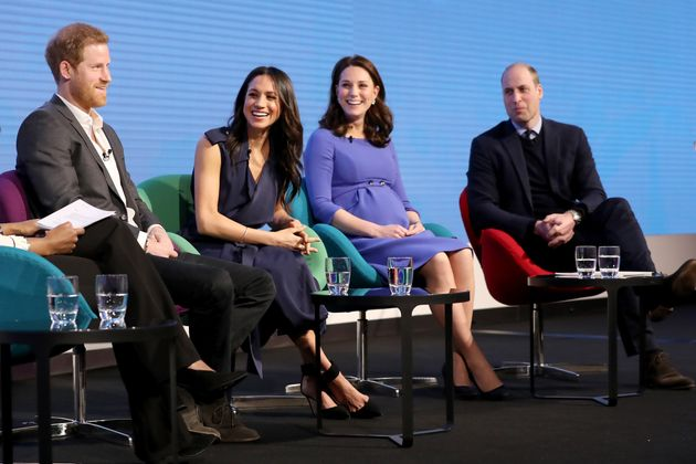 Harry, Meghan, Kate and William pictured at the first annual Royal Foundation Forum on Feb. 28, 2018,...