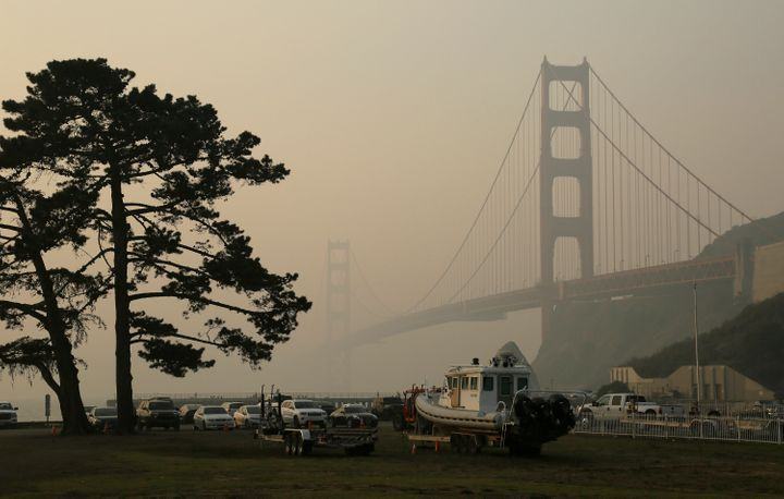 In this Nov. 16, 2018, file photo, the Golden Gate Bridge is obscured by smoke and haze from wildfires in this view from Fort