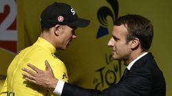 Macron, premier président à croiser un maillot jaune français depuis