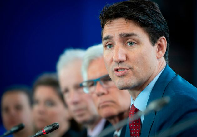 Prime Minister Justin Trudeau speaks during the Canada-EU Summit in Montreal on July 18,