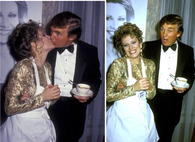 Donald Trump kisses Faith Daniels at the Fifth Annual Gourmet Gala March of Dimes Benefit in 1992 at...