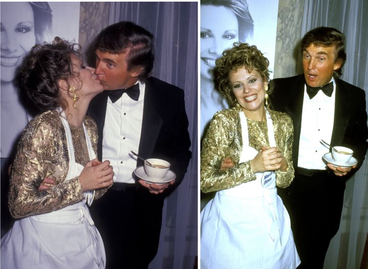 Donald Trump kisses Faith Daniels at the Fifth Annual Gourmet Gala March of Dimes Benefit in 1992 at the Plaza Hotel in New Y