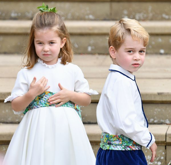 Prince George with Princess Charlotte at the wedding of Princess Eugenie of York and Jack Brooksbank in Windsor on Oct. 12, 2