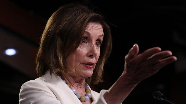 WASHINGTON, DC - JULY 17: Speaker of the House Nancy Pelosi (D-CA) answers questions during a press conference at the U.S. Capitol on July 17, 2019 in Washington, DC. Pelosi answered a range of questions including on the articles of impeachment raised by Rep. Al Green (D-TX) and the recent House vote condemning remarks by U.S. President Donald Trump about freshmen Democratic representatives and immigration. (Photo by Win McNamee/Getty Images)