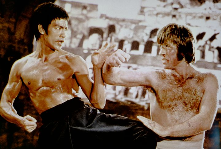 American martial artist Chuck Norris with Chinese American martial artist, actor, director and screenwriter Bruce Lee on the
