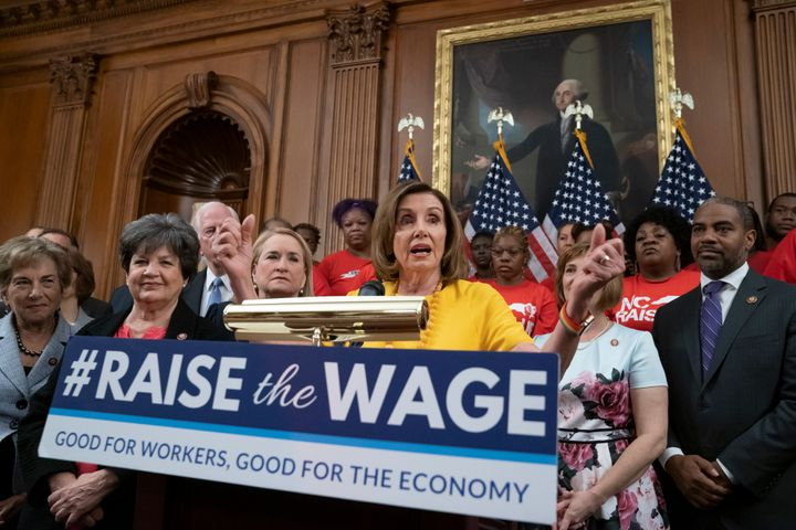 Speaker of the House Nancy Pelosi joins fellow Democrats and activists seeking better pay as the United States House of Representatives approved legislation to raise the federal minimum wage for the first time in a decade.