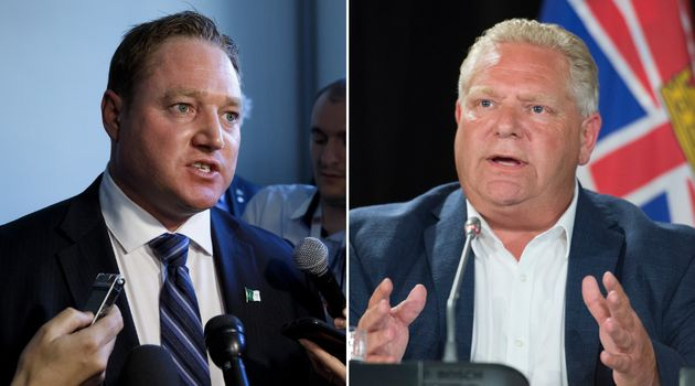 NDP MPP Taras Natyshak, left, says Ontario Premier Doug Ford's comments about a detainee who fled the...