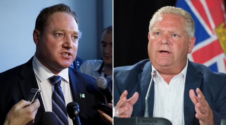 NDP MPP Taras Natyshak, left, says Ontario Premier Doug Ford's comments about a detainee who fled the country were derogatory.