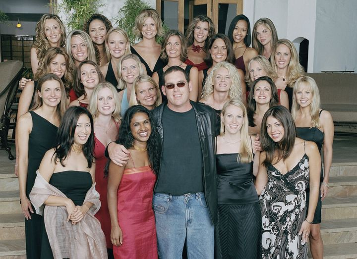 """Mike Fleiss, creator of """"The Bachelor,"""" with the cast of the show's second season in 2002."""