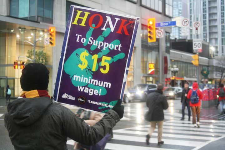 Protesters on the streets of Toronto following Doug Ford's announcement that Ontario would not be raising its minimum wage to $15 an hour.
