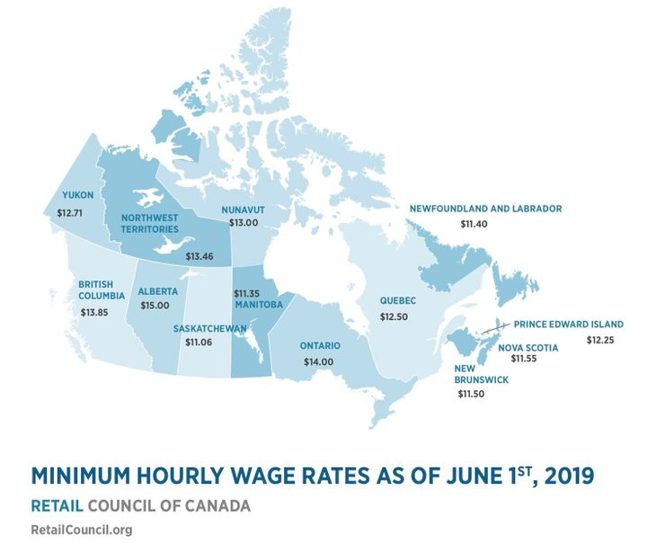 The Retail Council of Canada tracks the minimum wage in every province and territory.