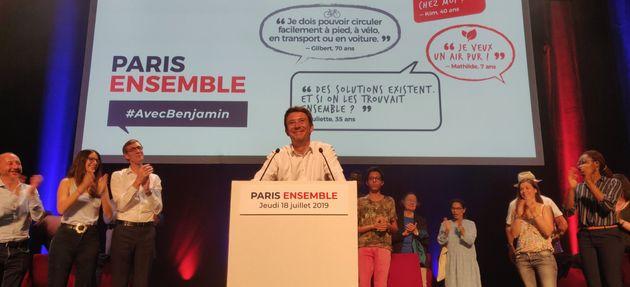 Benjamin Griveaux lors de son premier meeting comme candidat LREM pour la mairie de Paris ce 18
