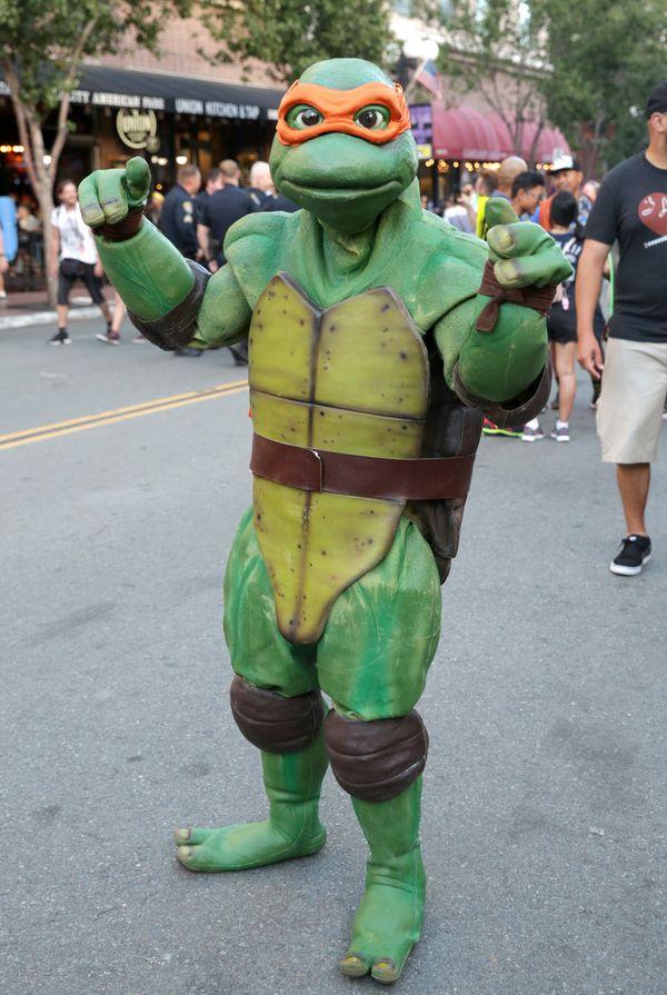 A cosplayer dressed as a Teenage Mutant Ninja Turtle.