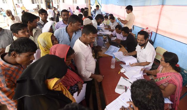 Assam State National Register of Citizens (NRC) officials check