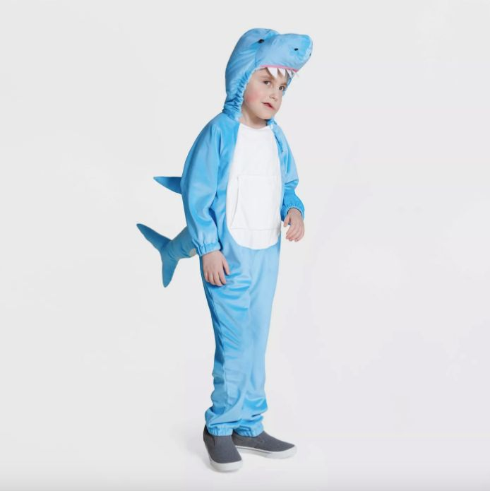 The shark costume features a detachable hood and fins.
