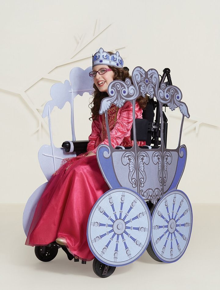 The princess costume and carriage wheelchair cover are sold separately.