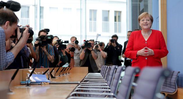 Angela Merkel lors d'une conférence de presse à Berlin le 19 juillet