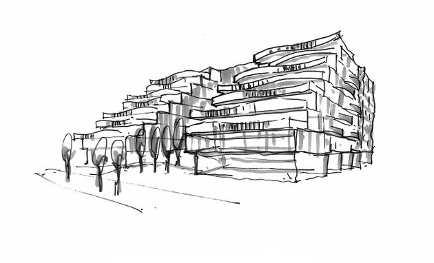A preliminary sketch of the Reina Condos project. The building's exterior design hasn't yet been