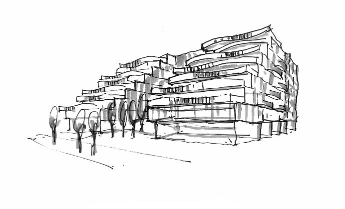 A preliminary sketch of the Reina Condos project. The building's exterior design hasn't yet been finalized.