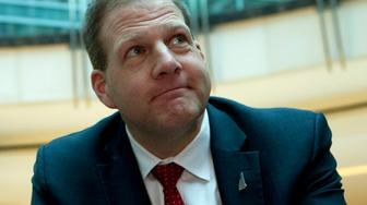New Hampshire Gov. Chris Sununu speaks during an interview during the National Governors Association 2019 winter meeting in Washington, Saturday, Feb. 23, 2019. (AP Photo/Jose Luis Magana)