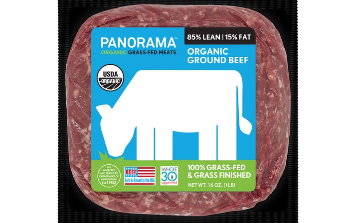 The front label of Panorama Meats beef says the product is grass fed. But the label you really need to look at is on the back (see below).