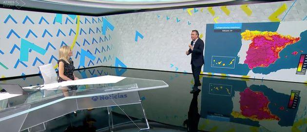 Sandra Golpe y Roberto Brasero en el informativo de Antena